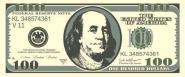 Aufkleber 100 Dollar Schein