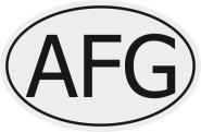 Aufkleber Autokennzeichen AFG = Afghanistan