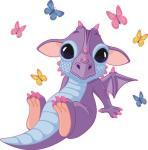Aufkleber Baby Drachen mit Schmetterlingen