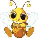 Aufkleber Biene mit Honig