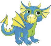 Aufkleber blauer Baby Drache
