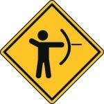 Aufkleber Vorsicht / Achtung Bogenschiessen