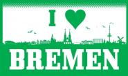 Fahne I love Bremen Skyline 90 x 150 cm