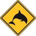 Aufkleber Vorsicht / Achtung Delfin