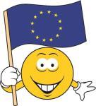 Aufkleber Smily Smiley mit Europa Fahne 10 x 11 cm