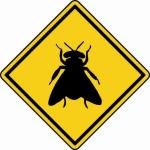 Aufkleber Vorsicht / Achtung Fliege