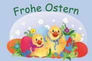 Flagge Frohe Ostern 2 Kücken Deutsch