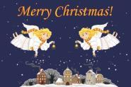 Flagge Frohe Weihnachten Engel Englisch