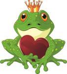 Aufkleber Frosch Froschkönig mit Herz