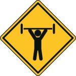 Aufkleber Vorsicht / Achtung Gewichtheber