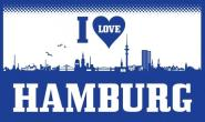 Fahne I love Hamburg Skyline 90 x 150 cm