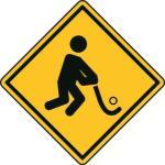 Aufkleber Vorsicht / Achtung Hockey