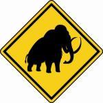 Aufkleber Vorsicht / Achtung Mammut