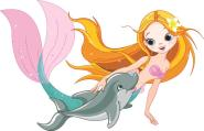 Aufkleber Meerjungfrau mit Delfin