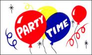 Stockflagge Party Time 30 x 45 cm