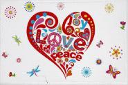 Aufnäher Patch Peace Motiv Nr. 12 Peace - Herz weiß 9 x 6 cm