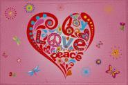 Aufnäher Patch Peace Motiv Nr. 13 Peace - Herz rosa 9 x 6 cm