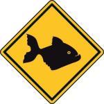 Aufkleber Vorsicht / Achtung Piranha