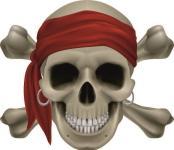 Aufkleber Pirat Totenkopf mit rotem Stirnband