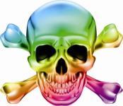 Aufkleber Pirat Totenkopf Rainbow