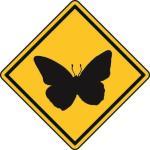 Aufkleber Vorsicht / Achtung Schmetterling