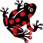Aufkleber schwarz - roter Frosch