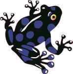 Aufkleber schwarz - blauer Frosch