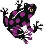 Aufkleber schwarz - lila Frosch