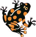 Aufkleber schwarz - orangener Frosch