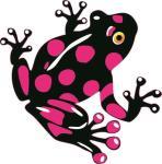 Aufkleber schwarz - pinker Frosch