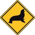 Aufkleber Vorsicht / Achtung Seehund