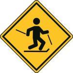Aufkleber Vorsicht / Achtung Skilanglauf