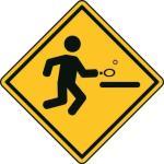 Aufkleber Vorsicht / Achtung Tischtennis