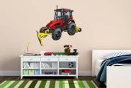 Wandtattoo Traktor mit Schneepflug Color