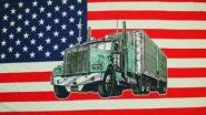 Stockflagge USA mit Truck 30 x 45 cm