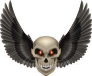 Aufkleber Vampir Totenkopf mit Flügel