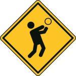 Aufkleber Vorsicht / Achtung Volleyball