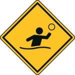 Aufkleber Vorsicht / Achtung Wasserball