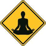 Aufkleber Vorsicht / Achtung Yoga