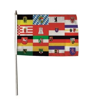 Stockflagge 16 Bundesländer 30 x 45 cm
