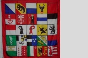 Fahne 25 Kantone der Schweiz 120 x 120 cm