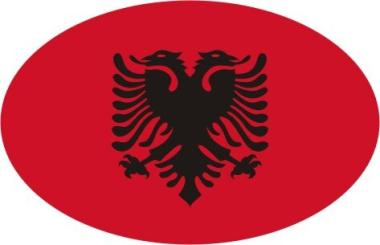 Aufkleber oval Albanien 10 x 6,5 cm