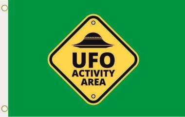 Fahne Alien Area UFO grün 90 x 150 cm