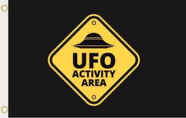 Fahne Alien Area UFO schwarz 90 x 150 cm