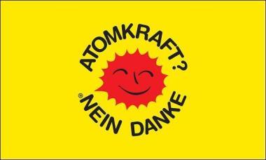 Fahne Atomkraft - Nein Danke! gelb  150 x 250 cm