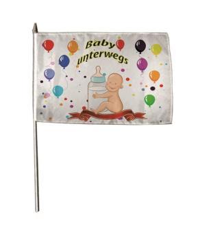 Stockflagge Baby unterwegs 30 x 45 cm