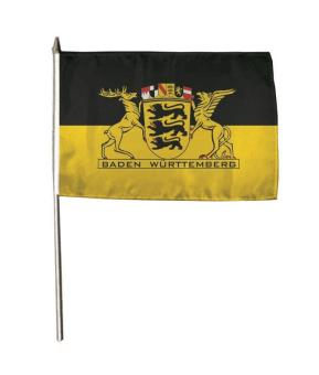 Stockflagge Baden Württemberg mit großem Landessiegel 30 x 45 cm