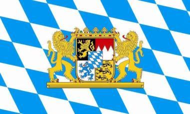 Flagge Bayern mit Löwenwappen 20 x 30 cm