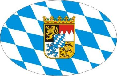 Aufkleber oval Bayern mit Wappen 10 x 6,5 cm