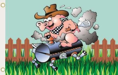 Fahne BBQ Riding Schwein 90 x 150 cm